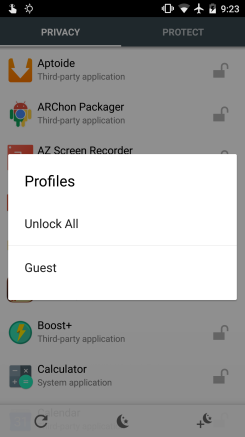 You can choose profiles